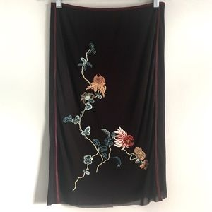 Vivienne Tam Brown Embroidered Signature Skirt M